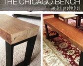 4ft salvaged wood bench with steel legs - The Chicago Bench