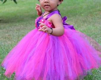 Pink and Purple Birthday Tutu Dress, Pink and Purple Flower Girl Dress