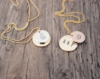 Secret initial necklace, Initial gold disc necklace - Gold disc necklace - Initial circle necklace - Personalized jewelry - Monogram name