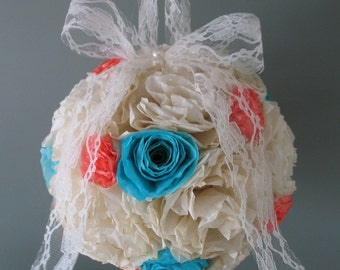 "6"" Coffee Filter Flower Girl Ball/ Pomander/ Kissing Ball/ Coral & Teal"