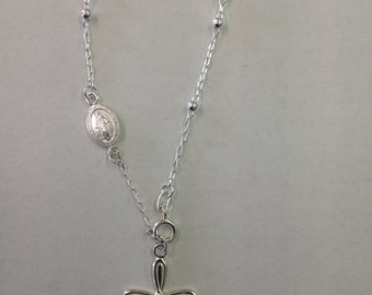 Sterling Silver Rosary Bracelet,1 Piece,925 Silver Bracelet