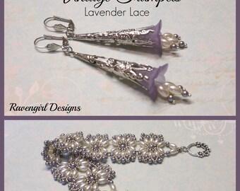 VINTAGE TRUMPETS Lavender Lucite Lily Flower Dangle Drop Pearl Earrings, Filigree, Boho Vintage Style Handmade Jewelry. Ravengirl Design