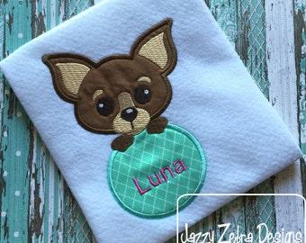 Chihuahua Dog monogram frame Applique Embroidery Design - dog appliqué design - puppy appliqué design - monogram frame appliqué design