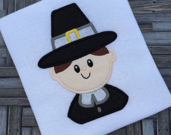 Pilgrim Boy 125 Appliqué Embroidery Design - Thanksgiving appliqué design - Pilgrim appliqué design - boy applique design
