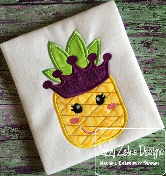 Pineapple Princess Appliqué Embroidery Design - girl appliqué design - pineapple appliqué design - summer appliqué design - fruit appliqué