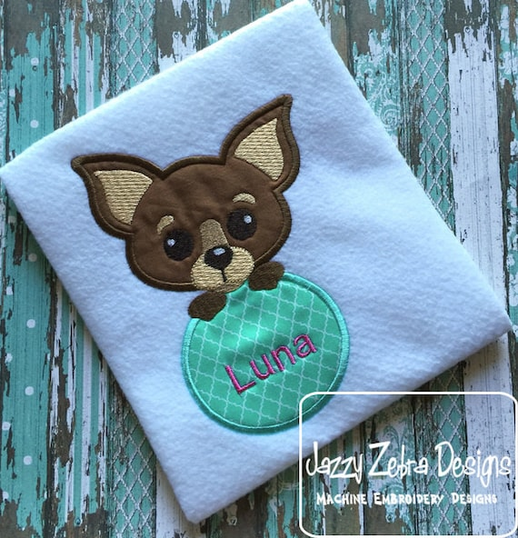 Chihuahua Dog monogram frame Applique Embroidery Design - dog appliqué design - puppy appliqué design - monogram frame appliqué design