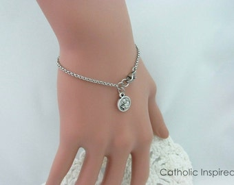 Catholic Bracelet - St Gerard Miraculous Medal  Crucifix Cross - Jesus Mary Our Lady Saint Jewelry Stainless Steel Chain Charm Bracelet