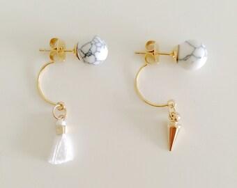 Debonair Marble Collection   Gold Plated Asymmetrical Earrings, Howlite Ear Stud, Spike Earrings, Ear Jackets, Gift for her, Valentine Gift