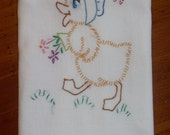 Vintage Duck Sunday Embroidered Towel - Vintage Duck Embroidered Towel - Sunday Duckling Towel