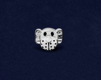 Dog Face Shaped Threaded Style Charm (RE-CHARM-04-P)