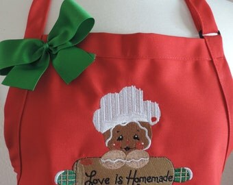 Love is Homemade Gingerbread Apron Adult, Junior and Child