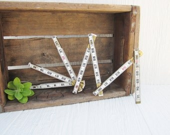 Folding Ruler, Lufkin Red End Two Way 966 Ruler Wood and Metal, White Lufkin Ruler, Vintage Tool, Industrial Rustic Home Decor, Photo Holder