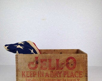 Vintage Jello Crate Old Wooden Crate Jello Wood Crate 1930s Original LeRoy New York Jello Brand Wood Crate Box