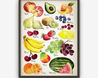 Watercolor Fruit Wall Art Print - Fruit Kitchen Home Decor - Watercolour Fruit Poster - Kitchen Fruit Poster - Modern Kitchen Wall Art (416)