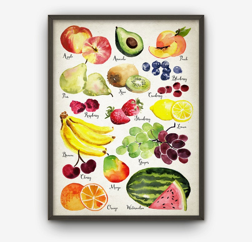 Watercolor Fruit Wall Art Print Fruit Kitchen Home Decor