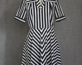 Nautical black and white stripe dress