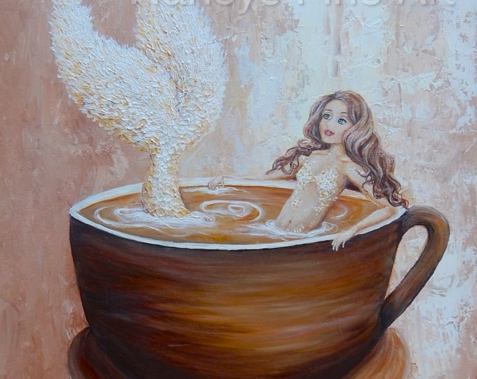 Mermaid wall art, mermaid coffee painting, mermaid in cup home decor,  Original mermaid artwork by Nancy Quiaoit at Nancys Fine Art.