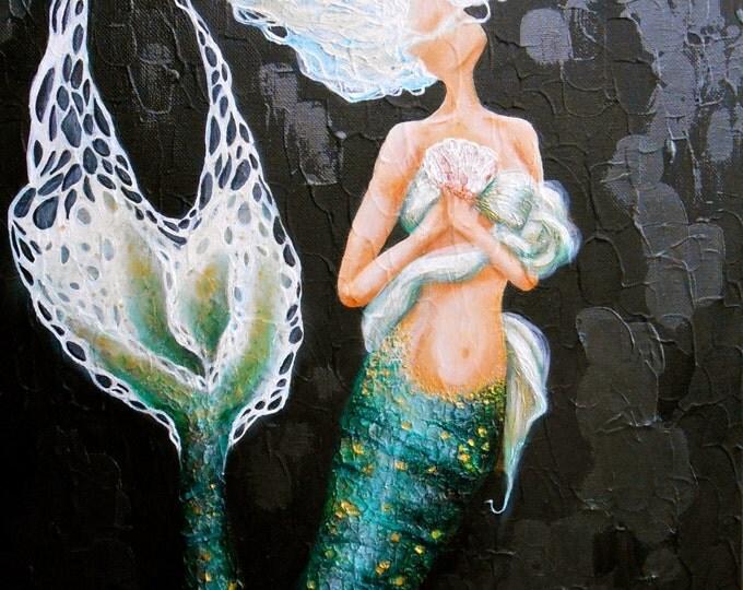 Green mermaid wall art, unique black and green mermaid art, mermaid print, Original mermaid painting by Nancy Quiaoit at Nancys Fine Art.