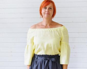 Linen blouse, Ruffle sleeve top in white, Linen summer blouse, Off shoulder top, 3/4 sleeve linen blouse, Ruffle blouse linen, Summer top