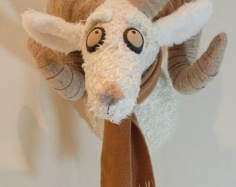 Ram wall hanging, faux taxidermy, trophy head, stuffed ram head, nursery decoration,FREE P&P, Knitwangling, home decor