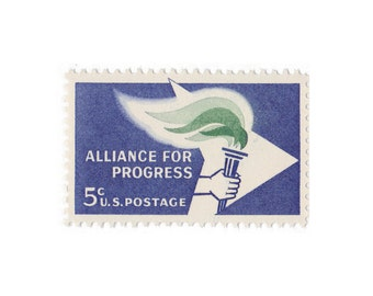 20 Unused Vintage Postage Stamps - 1963 5c Alliance for Progress - Item No. 1234