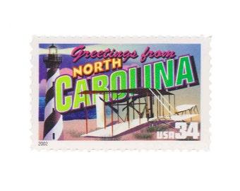 5 Unused US Postage Stamps - 2002 34c Greetings from North Carolina - Item No. 3593