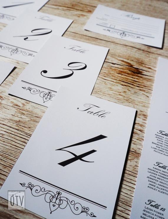 New** Black Tie - Elegant - WEDDING - Table Numbers - Black - White - Sophisticated - Calligraphy - Personalized - Printable - PDF - Digital