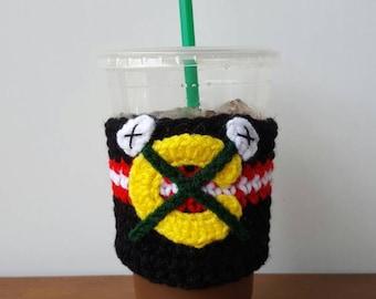 Blackhawks inspired crocheted coffee cozy. Drink cozy