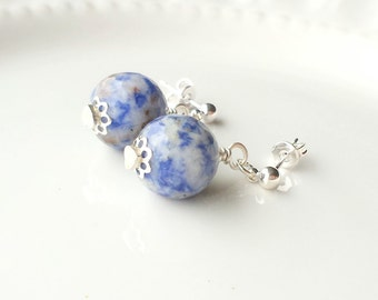 Sodalite Stud Earrings, Denim Blue earrings, Sodalite earrings, Gift for her, Simple earrings, Gemstone earrings, Boho earrings