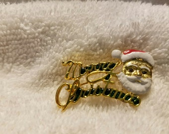 Vintage Gold Toned Merry Christmas Pin
