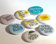 Lukes Cafe - Gilmore Girl - copper boom - oy with the puddles already - in omnia paratus pinback buttons