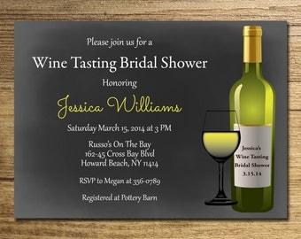 Wine tasting Bridal Shower Invitation/Wine tasting Shower/ Chalkboard Invitation/Winery Bridal Shower Printable File.