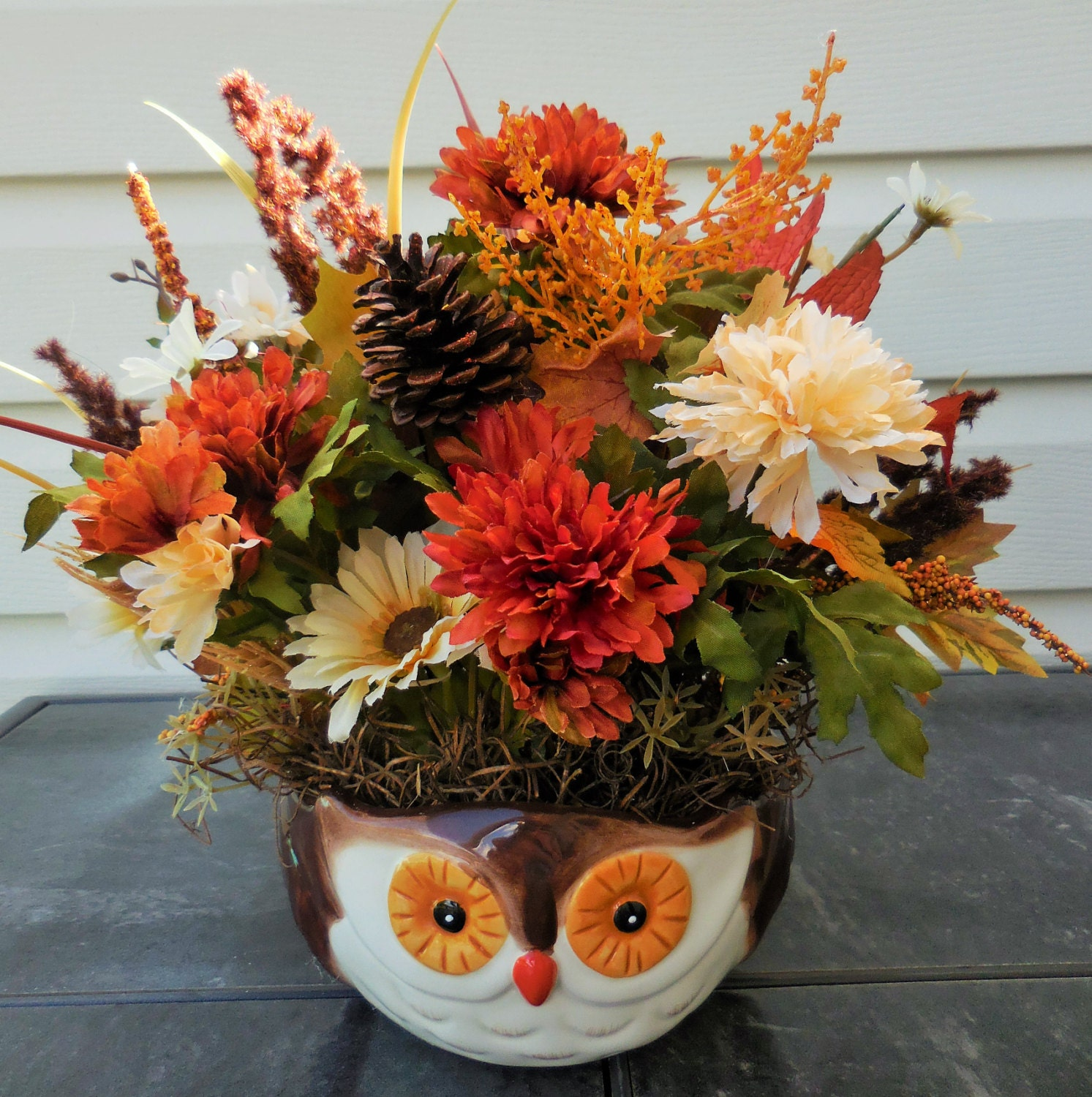 Fall arrangement autumn decor owl decor fall flowers owl for Autumn flower decoration