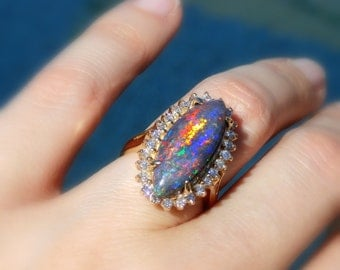 Opal and Diamond Ring, Lightning Ridge Black Opal and Diamond Ring, 14kt, Size 7
