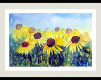 Cone Flowers Watercolors Original Art  Wall Art Wall Decor Impressionistic watercolors Floral painting