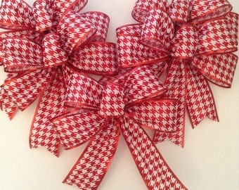 Christmas Red And White Bows / Christmas Decorative Bows / Red Glitter Whimsical Christmas Tree Bows ( set of 5 ) Handmade