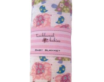 Pink Elephant and Turtles Baby Receiving Blanket /Swaddle Blanket/Newborn Flannel Blanket