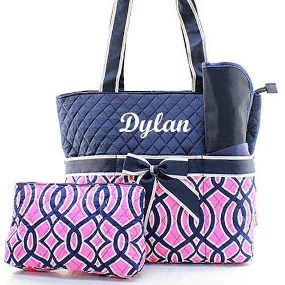 monogrammed navy pink trellis diaper bag personalized diaper. Black Bedroom Furniture Sets. Home Design Ideas