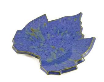 Grape Leaf dish - pottery - jewel blue - royal blue - ring dish - spoon rest - fall leaf - fall decor