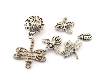 10 Antique Silver Bugs and Butterfly Charms
