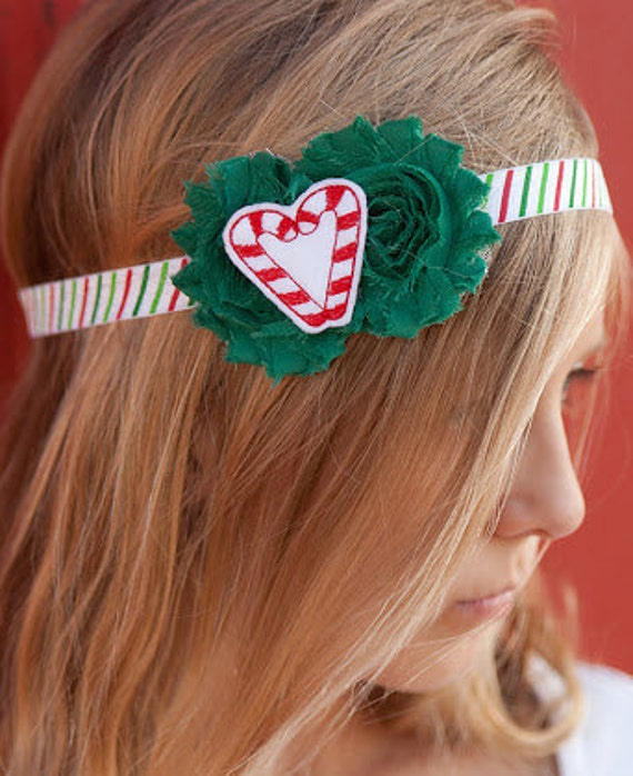 Christmas Headband for Toddler - Candy Cane Head Band - Christmas Baby Headband Photo Prop - Girls Christmas Headband - Holiday Headband