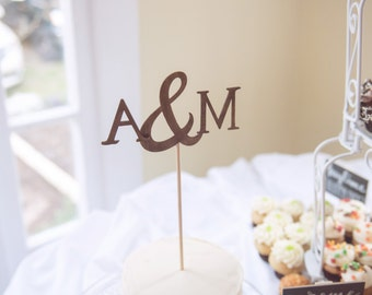 wedding cake topper / wooden initials & ampersand customizable small cake topper.