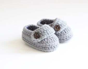 Gray Crochet Baby Shoes