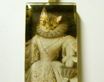 Victorian kitty pendant and chain - CGP02-038 - cat pendant