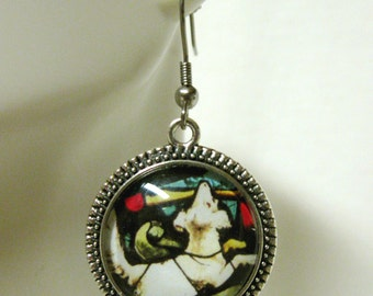 White dog stained glass window earrings - DAP06-015
