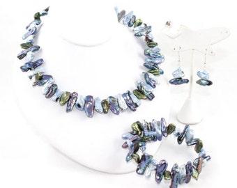 Iridescent Freshwater Biwa Pearl Aqua Hues Jewelry Set