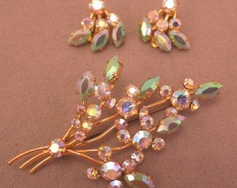 Stunning Gold Tone and Rhinestone Pin and Clip Earrings Set 1940-50s