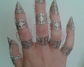 x10pcs Silver tone Finger armour