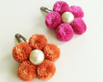 Flower Hair clips - Pink Flower Hair clips - Orange Flower Clips - Baby Hair clips - Kid's Hair accessories - Set of 2