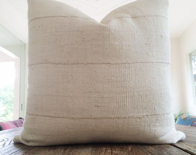 Authentic Natural White African Mudcloth Textile Pillow Cover Various Sizes